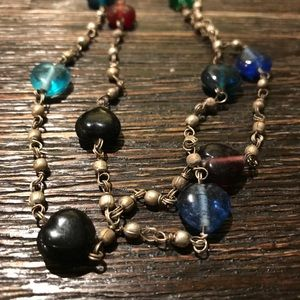 60's 70's Metal Wire and Glass Rainbow Necklace